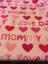 I LOVE DADDY MOMMY PINK FOR GIRL POLAR  FLEECE BABY CRIB  BLANKET NEW FREE SHIP