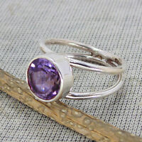 Natural Amethyst Gemstone 925 Sterling Silver February Birthstone Ring Size 7.5