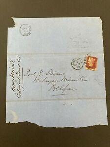 Postal History GB QV 1872 Belper CDS Parish Return 1d Red Plate144 Cat £25