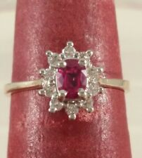 14K Yellow Gold Genuine Ruby & Diamond Ring July Birthstone  FREE SIZING! ! !