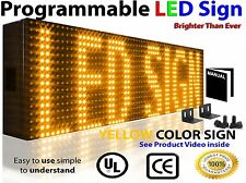 """Outdoor Programmable LED SIGN 25""""x6"""" YELLOW color Display Open Message Board"""