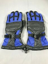 Lewis Black & Blue Leather Motorcycle Motorbike Biker Gloves Waterproof XL
