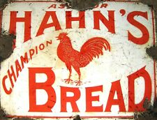 """TIN SIGN """"Hahn's Bread"""" Rooster Food Art Deco Garage Wall Decor"""