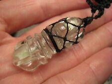 Natural Quartz Crysta Vajra Dorje Pendant Necklace Carving  Nepal Jewelry A22