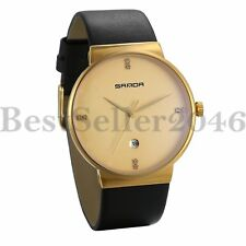 Black Leather Ultra-Thin Date Stainless Steel Quartz Mens Boys Calendar Watches