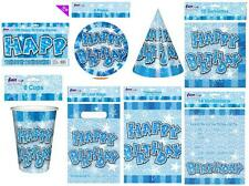 Blue boys birthday party supplies plates cups serviettes loot bags party hats