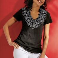 Size Large L Soft Surroundings Black And White Embroidered Top Shirt Blouse NWT
