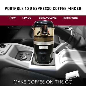 Car Portable Espresso Coffee Maker Machine DC12V Ground Coffee ESE Pods Travel