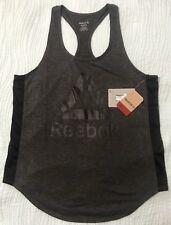 Reebok Women's Training Court Side Slim Dark Heather Grey Black Tank Top Size M