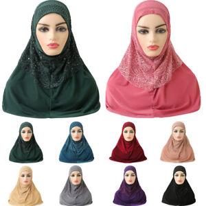 One Piece Hijab Islamic Scarf Pull On Amira Instant Women Muslim Head Wrap Shawl