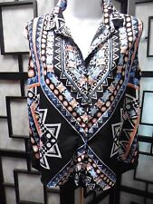 Mossimo Women's Button Front Sleeveless Multi-Colored Black Top Size Petite S