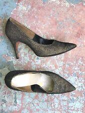 Gorgeous 1950s Stiletto Heels Sparkly Bronze Glitter Pumps Heels 7