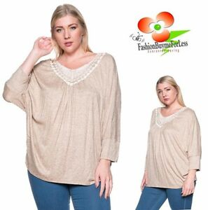 PLUS SZ Boho Bohemian 3/4 Sleeve Crochet Lace Peasant Tunic Sweater Top 1X 2X 3X