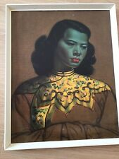 More details for original vladimir tretchikoff picture chinese girl (green lady) framed vintage