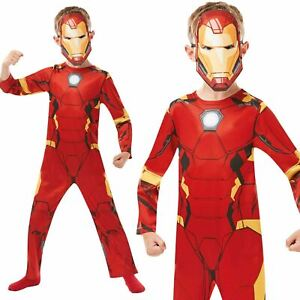 Official Boys Iron Man Costume Marvel Avengers Superhero Fancy Dress Child
