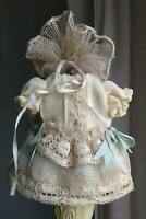 Beautiful silk Bebe doll dress, and hat , German/French antique doll, mignonette