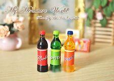 miniature  plastic glass 3× bottles drink mixed dollhouse kitchen littles lot