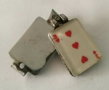 Vintage Novelty Miniature Nail Clippers/ Keyring - 3 Hearts Playing Card Design