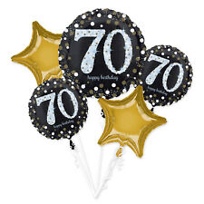 70th Happy Birthday Foil Balloon Bouquet Black Silver Gold Age 70 Decorations