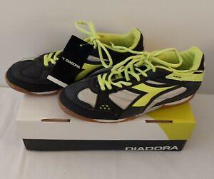 Diadora Quinto ID Men's Indoor Soccer #156001 01 Black-Yellow Sz 8
