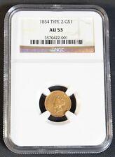 1854 $1 Type 2 Gold Dollar - NGC AU 53