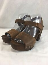 Mila Paoli Sandals Shoes Open Toe Womens 8.5 Brown Leather Wood Block Heel Italy