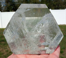 Large Clear Quartz Phantom Crystal Point with Green Chlorite Madagascar Beauty