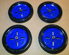 """4 1970s MECCANO New Black 3"""" Tires & Pulleys!"""