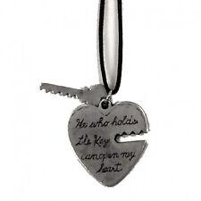 Ciondolo cuore con chiave in metallo con cordoncino made in italy
