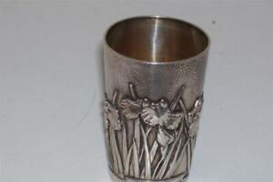 Rare Samurai Shokai Yokohama Sterling Silver Sake Cup Iris Hammered Meiji c1905