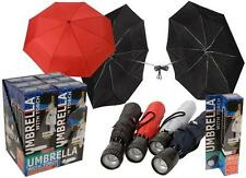 """21""""UMBRELLA WITH COVER, STRAP AND TORCH FOLDING BRIGHT LED LIGHT MEN / WOMEN UK"""