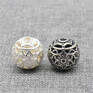 2 Sterling Silver Flower Beads 925 Silver Hollow Floral Round Ball for Bracelet