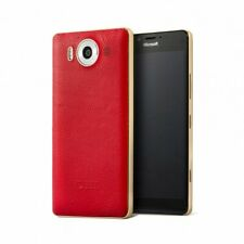 Mozo Back Cover with Qi + NFC for Microsoft Lumia 950 - Red Leather / Gold Trim