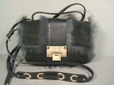 Jimmy Choo Rebel Charcoal Shearling Handbag Shoulder Bag Cross Body Purse Clutch