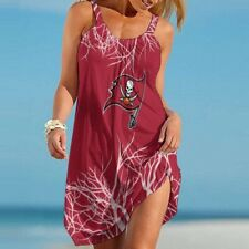 Tampa Bay Buccaneers Women Summer Sleeveless Sling Dress Beach Loose Sundress