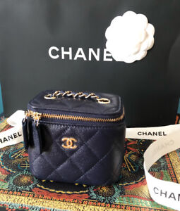 CHANEL classic small vanity with chain in navy 21S