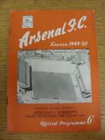 08/10/1949 Arsenal v Everton  (neat team changes and writing on front, rusty sta