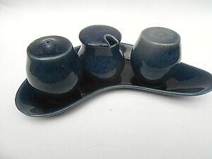 1960's Vintage Denby * COTTAGE BLUE * Cruet Set - Salt,Pepper & Mustard on Tray.