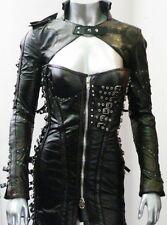 Black Leather Dress Bolero Apocalyptic Gothic Rocker Alternative High Fashion JP