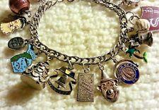 """Vintage 1960-70's Sterling Silver Charm Bracelet & 18 Charms,58 gr, 7.5"""", LOADED"""