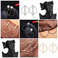 Gold Silver Black Earrings Round Tassel Statement Drop Hoop Fashion Earrings -UK