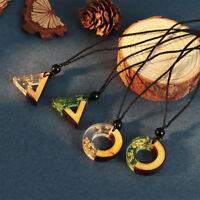 Vintage Resin Wood Colorful Pendant Handmade Necklace Rope Chain for Men Women