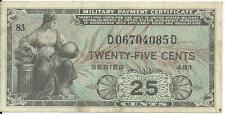 Series 481 25 Cents Military Payment Certificate MPC Note Currency CH AU #4085D