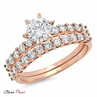 3.10 Carat Round Cut Solitaire Engagement Ring band set 14k Rose Gold Bridal