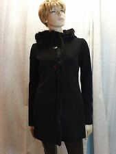 NWT PRADA BLACK BEAVER FUR TRIM HOODED TRENCH OVER COAT 40 4 $2375