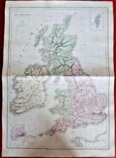 Ancienne Carte 1870 Iles Britanniques Londres Écosse Irlande Shetland Angus