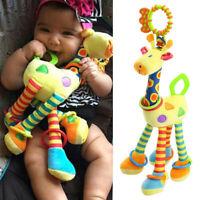 Plush Infant Baby Development Soft Giraffe Animals Handbell Rattles Handle Toy