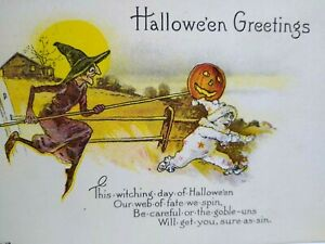 Vintage Halloween Postcard Nash Running Witch Scares Child Unused Series H-48