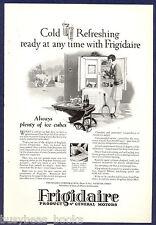 1927 FRIGIDAIRE refrigerator advertisement, large electric icebox, tennis court