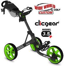 New 2017 ClicGear USA Model 3.5+ Plus Golf Push Cart - 3 Wheel Charcoal / Lime